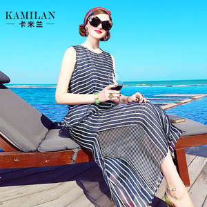 KAMILAN 卡米兰2017春夏新款无袖条纹真丝上衣+真丝阔腿裤套装女