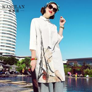 KAMILAN 卡米兰2017春季新款印花衬衫女宽松中长款九分袖衬衣上衣